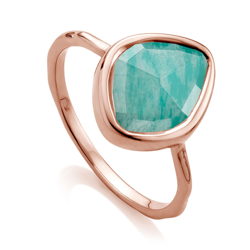 Rose Gold Vermeil Siren Small Nugget Stacking Ring - Amazonite - Monica Vinader