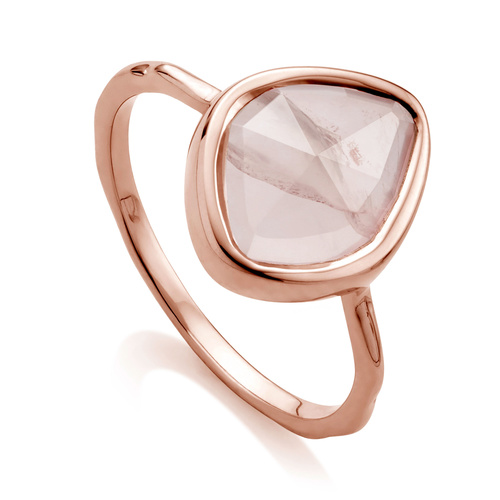 Rose Gold Vermeil Siren Small Nugget Stacking Ring - Rose Quartz - Monica Vinader
