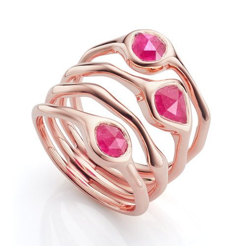 Rose Gold Vermeil Siren Cluster Cocktail Ring - Pink Quartz - Monica Vinader