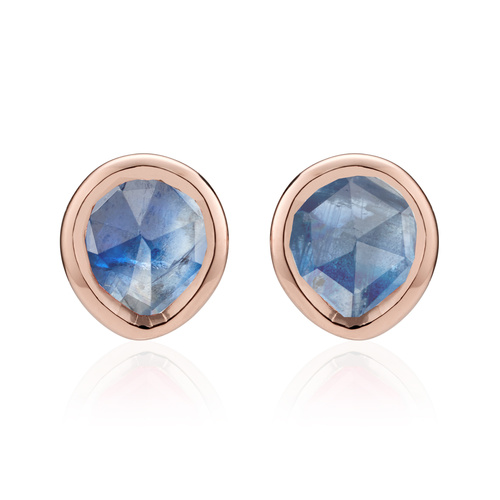 Rose Gold Vermeil Siren Mini Stud Earrings - Kyanite - Monica Vinader