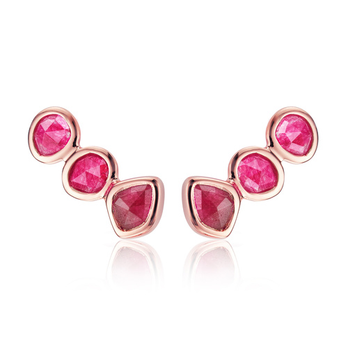 Rose Gold Vermeil Siren Climber Earrings - Pink Quartz - Monica Vinader
