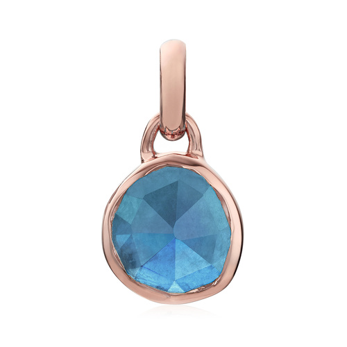 Rose Gold Vermeil Mini Siren Bezel Pendant - Kyanite - Monica Vinader