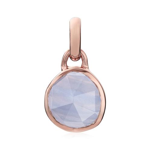 Rose Gold Vermeil Siren Mini Bezel Pendant Charm - Blue Lace Agate - Monica Vinader