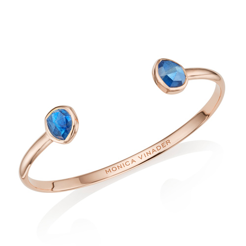 Rose Gold Vermeil Siren Thin Cuff - Large - Kyanite - Monica Vinader