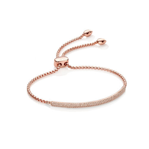 Rose Gold Vermeil Fiji Diamond Mini Bar Bracelet - Champagne Diamond - Monica Vinader