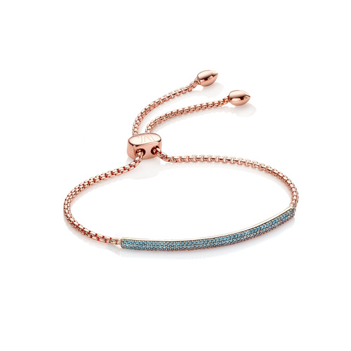 Rose Gold Vermeil Fiji Diamond Mini Bar Bracelet - Blue Diamond - Monica Vinader