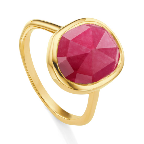 Gold Vermeil Siren Medium Stacking Ring - Pink Quartz - Monica Vinader