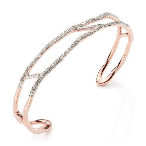 Rose Gold Vermeil Riva Waterfall Diamond Cuff - Diamond - Monica Vinader
