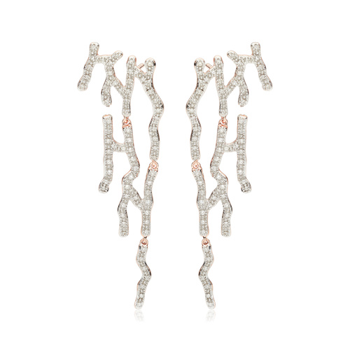 Rose Gold Vermeil Riva Waterfall Cocktail Diamond Earrings - Diamond - Monica Vinader