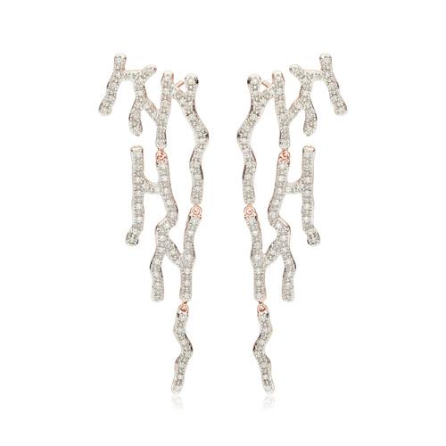 Rose Gold Vermeil Riva Waterfall Cocktail Diamond Earrings - Diamond - Monica Vinader