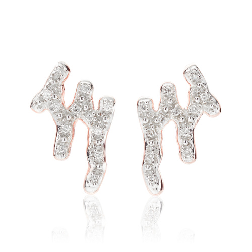 Rose Gold Vermeil Riva Waterfall Stud Diamond Earrings - Diamond - Monica Vinader
