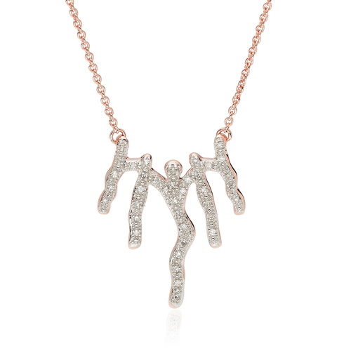 Rose Gold Vermeil Riva Waterfall Diamond Necklace - Diamond - Monica Vinader