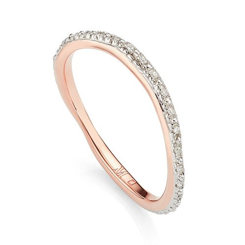 Rose Gold Vermeil Riva Wave Eternity Diamond Ring - Diamond - Monica Vinader