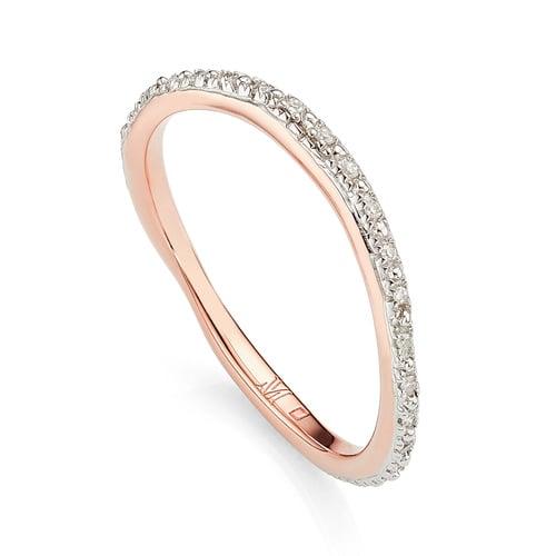 Rose Gold Vermeil Riva Wave Eternity Diamond Ring - Diamond - Monica Vinader