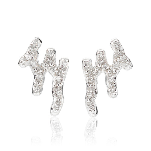 Sterling Silver Riva Waterfall Stud Diamond Earrings - Diamond - Monica Vinader