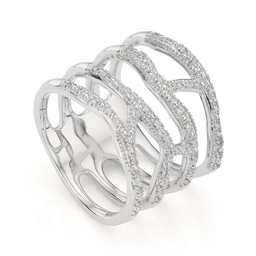 Sterling Silver Riva Waterfall Cocktail Diamond Ring - Diamond - Monica Vinader