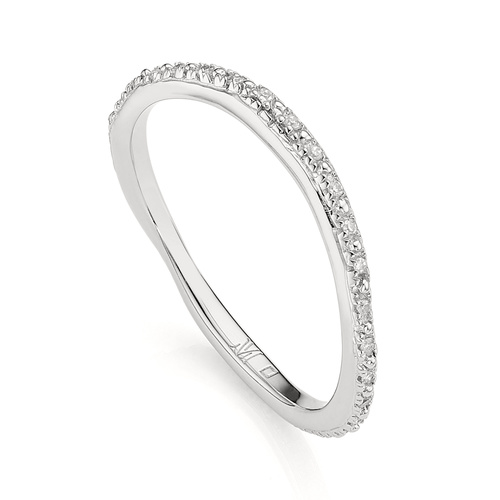 Sterling Silver Riva Wave Eternity Diamond Ring - Diamond - Monica Vinader