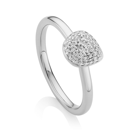Nura Mini Pebble Stacking Ring - Diamond - Monica Vinader