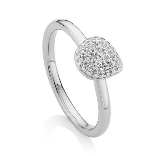 Sterling Silver Nura Mini Pebble Stacking Ring - Diamond - Monica Vinader
