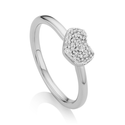 Sterling Silver Nura Mini Heart Ring - Diamond - Monica Vinader