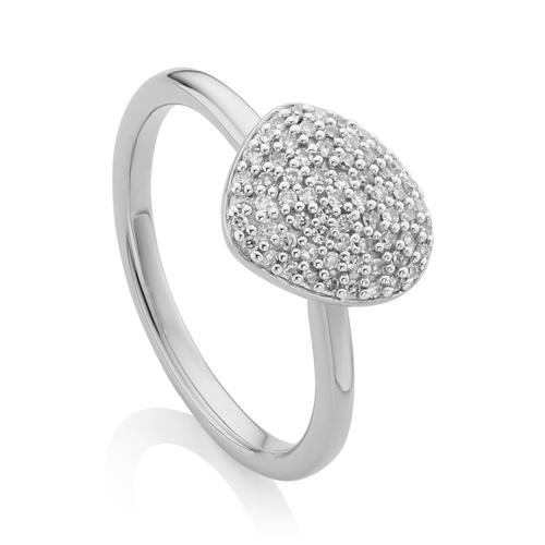 Nura Small Pebble Stacking Diamond Ring - Diamond - Monica Vinader