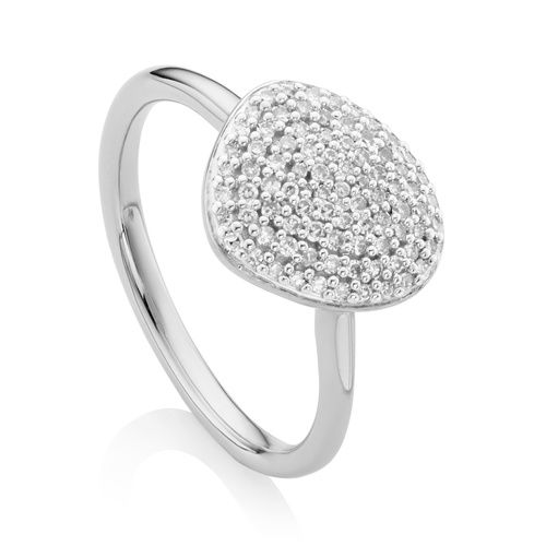 Sterling Silver Nura Pebble Stacking Diamond Ring - Diamond - Monica Vinader