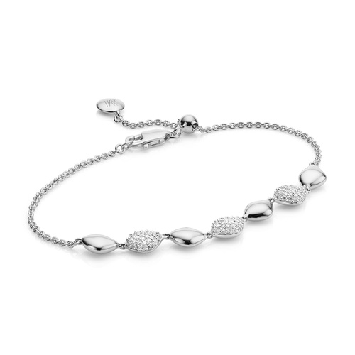 Sterling Silver Nura Teardrop Mix Link Bracelet - Diamond - Monica Vinader