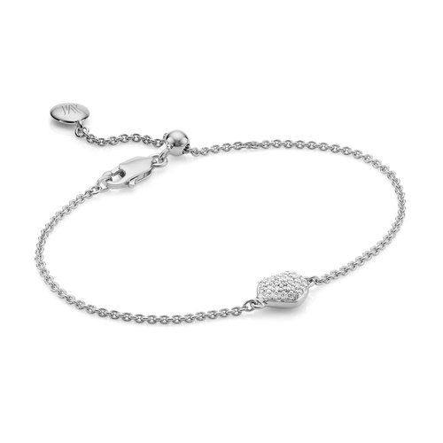 Sterling Silver Nura Mini Heart Bracelet - Diamond - Monica Vinader