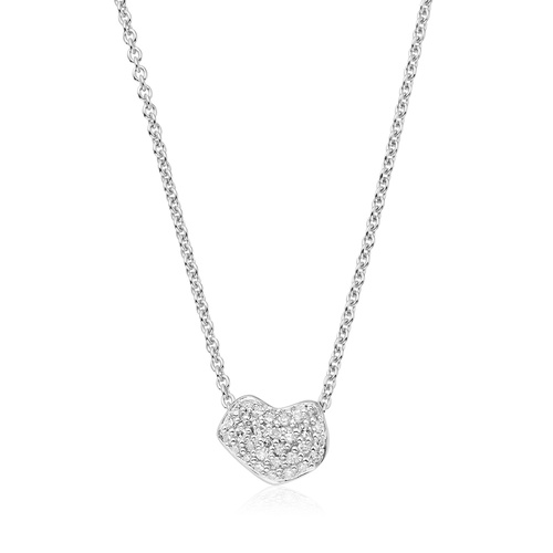Sterling Silver Nura Mini Heart Necklace - Diamond - Monica Vinader