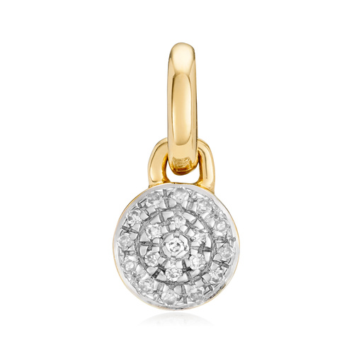 Gold Vermeil Fiji Mini Button Diamond Pendant Charm - Diamond - Monica Vinader