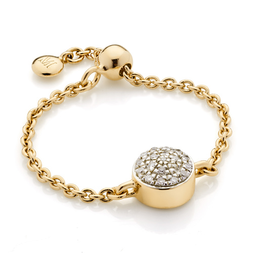 Gold Vermeil Fiji Mini Button Adjustable Friendship Diamond Ring - Diamond - Monica Vinader