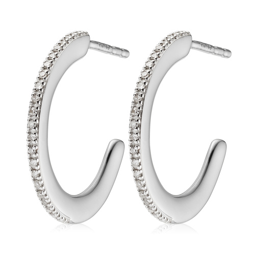 Sterling Silver Fiji Skinny Hoop Diamond Earrings - Diamond - Monica Vinader