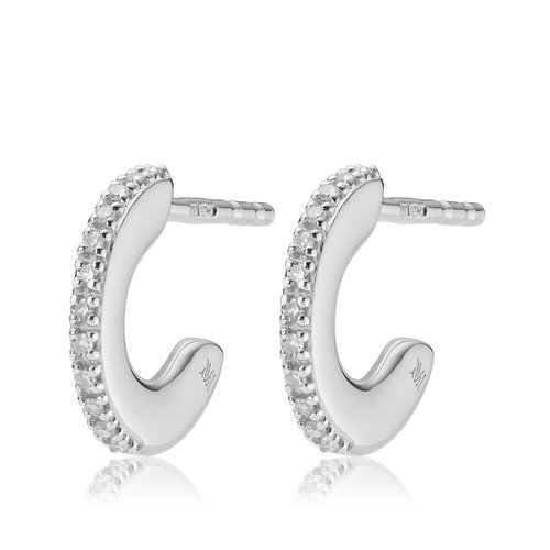 Sterling Silver Fiji Small Skinny Hoop Diamond Earrings - Diamond - Monica Vinader