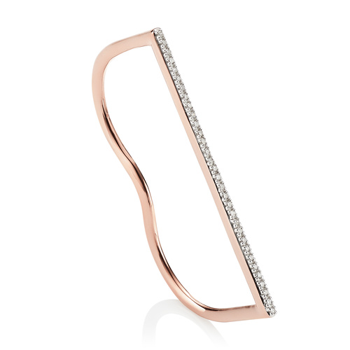 Rose Gold Vermeil Fiji Skinny Double Diamond Ring - Diamond - Monica Vinader