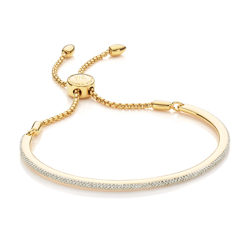 Gold Vermeil Fiji Skinny Bar Friendship Chain Bracelet - Diamond - Monica Vinader