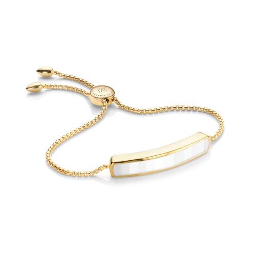 Gold Vermeil Baja Bracelet - White Chalcedony - Monica Vinader