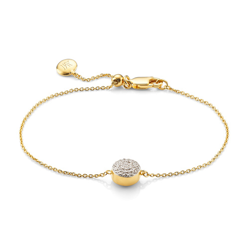 Gold Vermeil Fiji Button Bracelet - Diamond - Monica Vinader