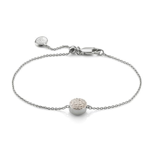 Sterling Silver Fiji Button Bracelet - Diamond - Monica Vinader