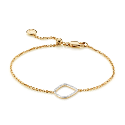 Gold Vermeil Riva Diamond Kite Chain Bracelet - Diamond - Monica Vinader