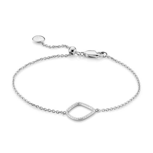 Sterling Silver Riva Diamond Kite Chain Bracelet - Diamond - Monica Vinader