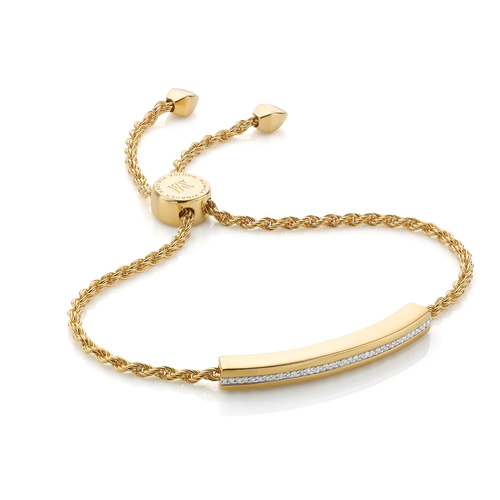 Gold Vermeil Linear Diamond Chain Bracelet - Diamond - Monica Vinader