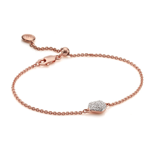 Rose Gold Vermeil Nura Mini Heart Bracelet - Diamond - Monica Vinader