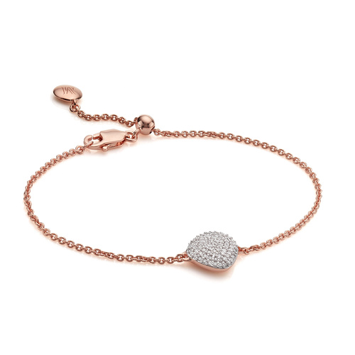 Rose Gold Vermeil Nura Pebble Bracelet  - Diamond - Monica Vinader