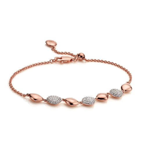 Rose Gold Vermeil Nura Teardrop Mix Link Bracelet - Diamond - Monica Vinader