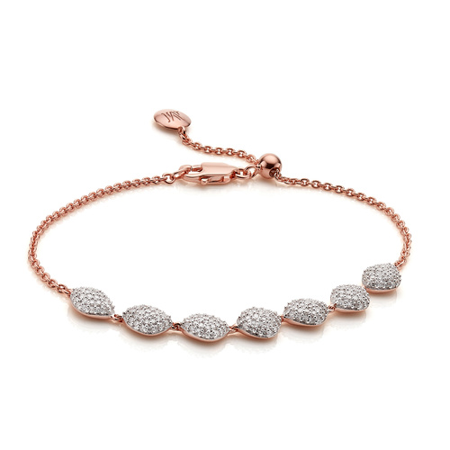 Rose Gold Vermeil Nura Teardrop Link Bracelet - Diamond - Monica Vinader