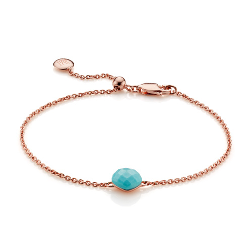 Rose Gold Vermeil Nura Mini Nugget Bracelet - Turquoise - Monica Vinader
