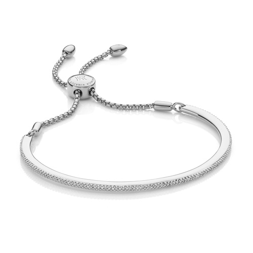 Sterling Silver Fiji Skinny Bar Friendship Chain Bracelet - Diamond - Monica Vinader