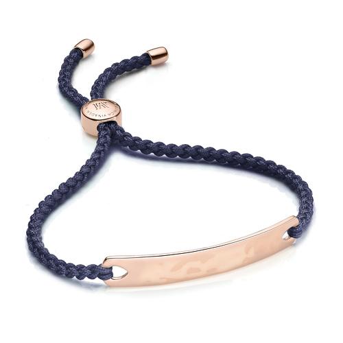 Rose Gold Vermeil Havana Friendship Bracelet - Navy Blue - Monica Vinader