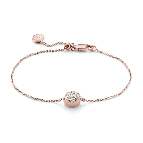Rose Gold Vermeil Fiji Button Bracelet - Diamond - Monica Vinader