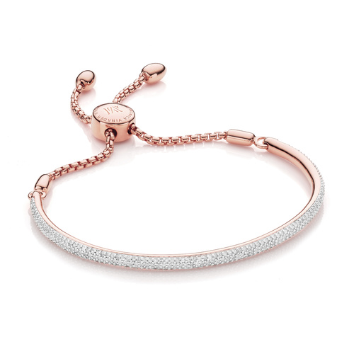 Rose Gold Vermeil Fiji Diamond Bar Bracelet - Diamond - Monica Vinader